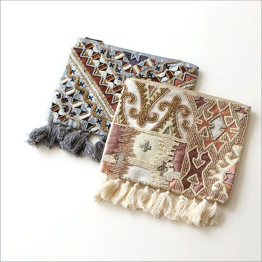 ビーズ刺繍フリンジポーチL 2タイプ [kan8908]