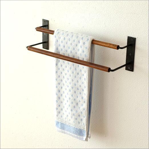 タオルハンガー タオル掛け 木製 アイアン おしゃれ トイレ 洗面所 2段シンプルタオルハンガー