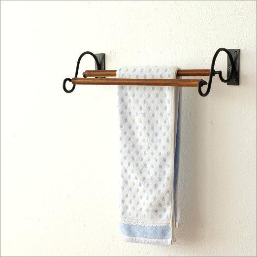 タオルハンガー タオル掛け 木製 アイアン おしゃれ トイレ 洗面所 2段スクロールタオルハンガー