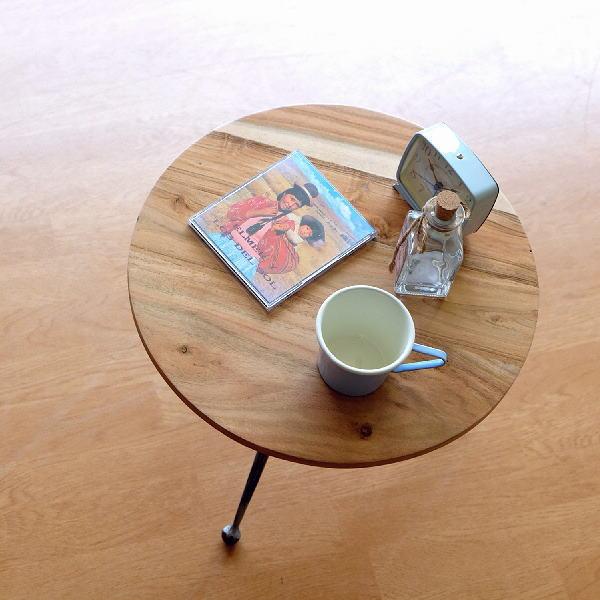 サイドテーブル 丸テーブル 木製 アイアン 脚 直径40cm ソファ ベッド ナチュラル 天然木 無垢 円形 アイアンとウッドのラウンドテーブル S 【送料無料】 [kan9196]