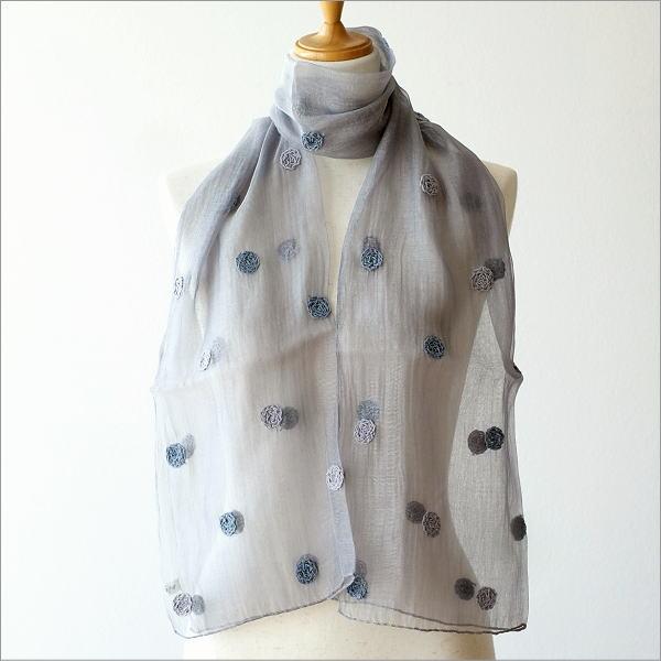 コットンシルクドット刺繍ショール
