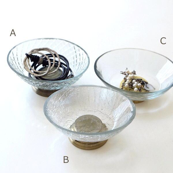 アクセサリートレイ おしゃれ アンティーク インテリアトレイ 小物入れ ガラス 卓上 クリア ゴールド 皿 プレート ガラストレー3タイプ [kan9735]