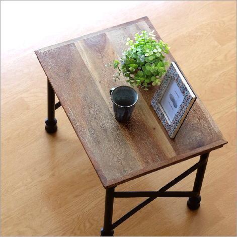 ローテーブル 無垢 アイアン 木製 コンパクト ソファーサイドテーブル ベッドサイドテーブル ナイトテーブル アカシアウッドとアイアンのローテーブルA【送料無料】