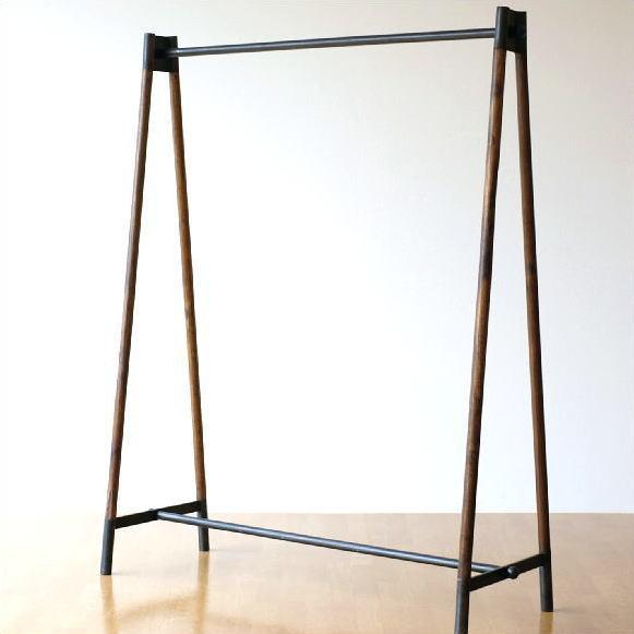ハンガーラック 木製 アイアン 鉄製 シンプル アンティーク おしゃれ ハンガースタンド コート掛け 幅120 チークウッド&アイアンの洋服ラック【送料無料】