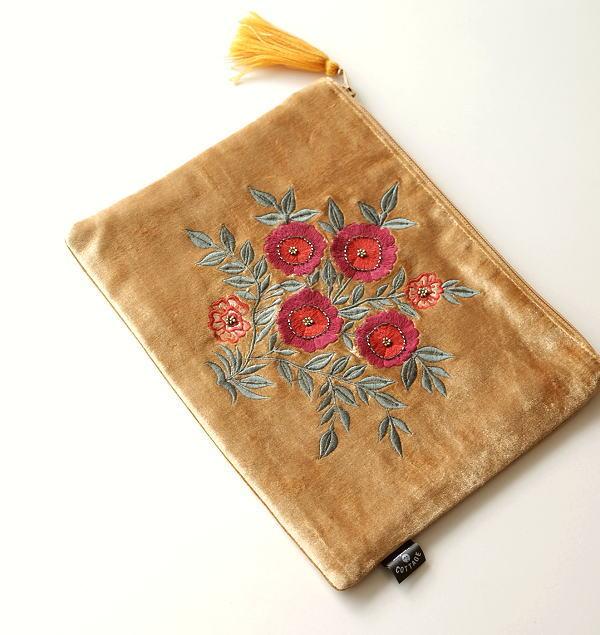 ベロア刺繍フラットポーチL [kan9994]