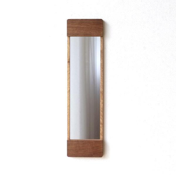 鏡 壁掛けミラー スリム おしゃれ ウォールナット 木製 ウッド 天然木 ウォールミラー 木枠 シンプル モダン ナチュラル スタイリッシュ 壁掛スリムミラーM [kch2597]