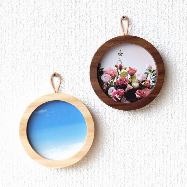 フォトフレーム 壁掛け おしゃれ 木製 丸 円形 小さい ミニ 無垢 天然木 wakkaフレームL 2カラー [kch3658]