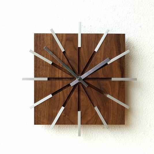 掛け時計 木製 ウォールクロック モダン おしゃれ ウッドラインクロック
