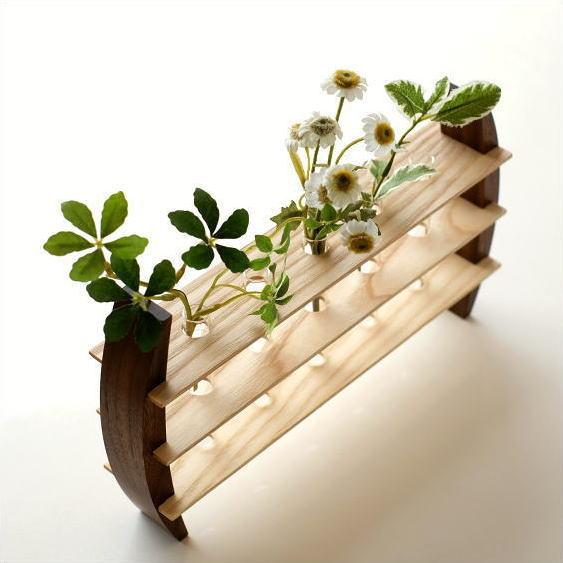 一輪挿し 木製 おしゃれ 花瓶 インテリア 花器 ガラス管 試験管 天然木 デザイン フラワーベース moon5 フラワースタンド [kch5065]