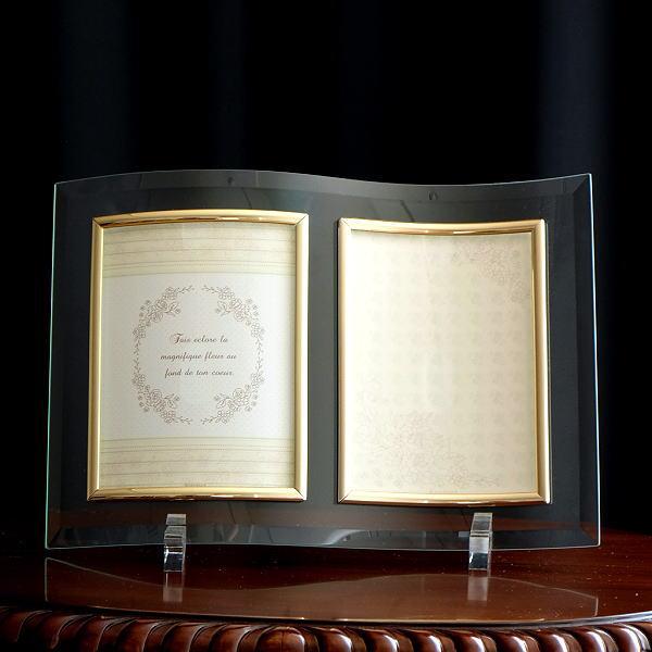 フォトフレーム ガラス 透明 写真立て フォトスタンド クリア おしゃれ 2面 2枚 2連 キャビネ 結婚祝い プレゼント ギフト ガラスのフレーム ウェーブ [kkm0828]