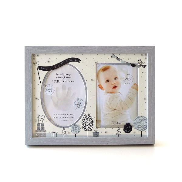 フォトフレーム ベビー 手形 足形 赤ちゃん 粘土 写真立て かわいい 出産祝い ギフト プレゼント 記念 贈り物 ベビー粘土付きフレーム モノトーン [kkm1141]