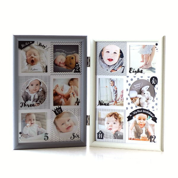 フォトフレーム ベビー 12ヶ月 赤ちゃん 壁掛け 卓上 写真立て かわいい 可愛い おしゃれ 北欧 複数枚 12枚 12窓 出産祝い 12ヶ月ベビーフレーム モノトーン [kkm1145]