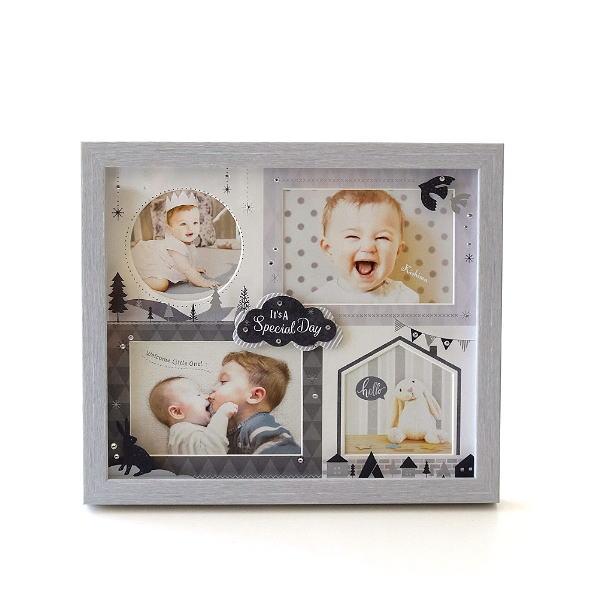 フォトフレーム ベビー 赤ちゃん 壁掛け 卓上 写真立て かわいい 可愛い おしゃれ 北欧 複数枚 4枚 4窓 出産祝い ギフト ベビー4窓フレーム モノトーン [kkm1179]