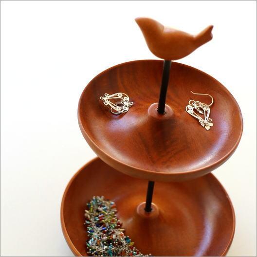 アクセサリートレイ 木製 アクセサリースタンド 収納 トレー プレート 皿 鳥 雑貨 ウッド2段トレイ バード