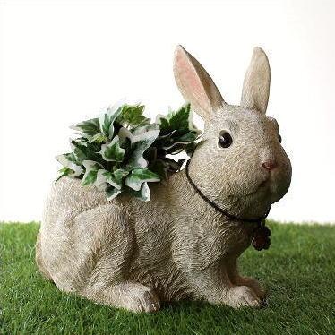鉢 プランター おしゃれ うさぎ ウサギ 雑貨 置物 ガーデンオブジェ ラビット樹脂プランター [kkm2972]