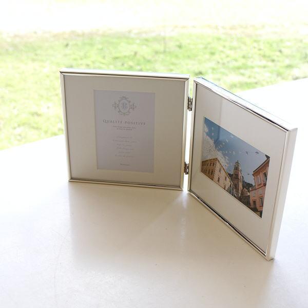フォトフレーム 写真立て L判 2枚 2面 2連 卓上 壁掛け シンプル 折りたたみ シルバーメタルフレーム2枚折 [kkm5391]