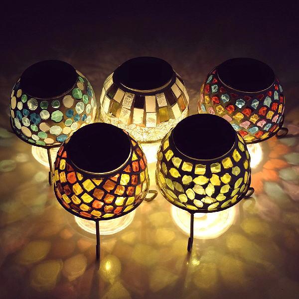 ソーラーライト おしゃれ 置き型 モザイクガラス ランプ かわいい 可愛い ソーラーモザイクガーデンライト5カラー [kkm6887]