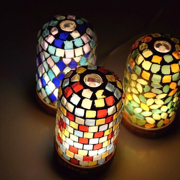 アロマディフューザー 超音波 かわいい 可愛い ランプ ライト付き 照明 おしゃれ インテリア モザイクガラスのディフューザー3カラー [kkm6894]