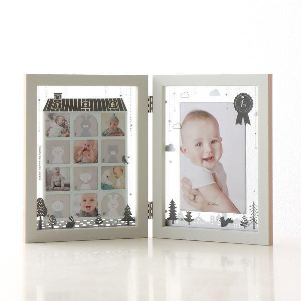 フォトフレーム ベビー 12ヶ月 赤ちゃん 卓上 写真立て かわいい 可愛い おしゃれ 北欧 複数 多面 12枚 12窓 1年 ティアラベビーフレーム モノトーン [kkm9486]