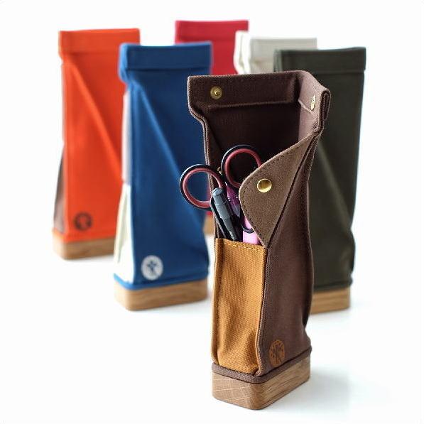 ペンケース スタンド おしゃれ 帆布 木製 日本製 かわいい シンプル 自立型 立つ 縦型 スタンド型ペンケース6カラー [knm3536]