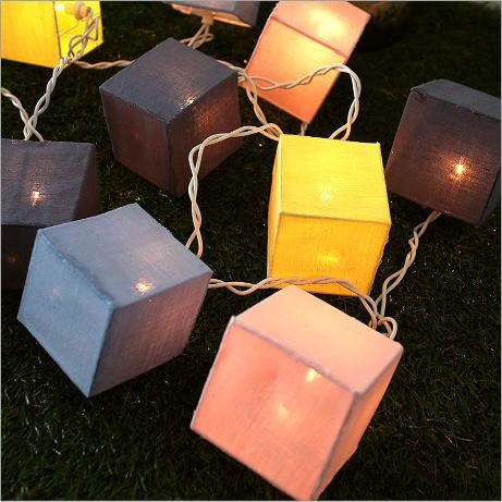 ガーランドライト 照明飾り ナチュラル ルームライト カラフル デコレーションライト コットンリネンのガーランドランプ スクエアB
