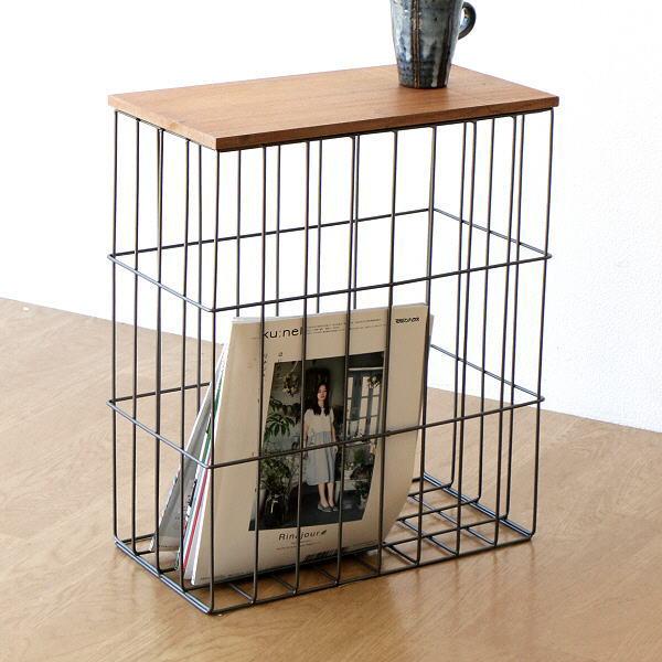 サイドテーブル おしゃれ かご バスケット スリム コンパクト ソファ ベッド 木製 アイアン サイドテーブルバスケット [ksh0767]