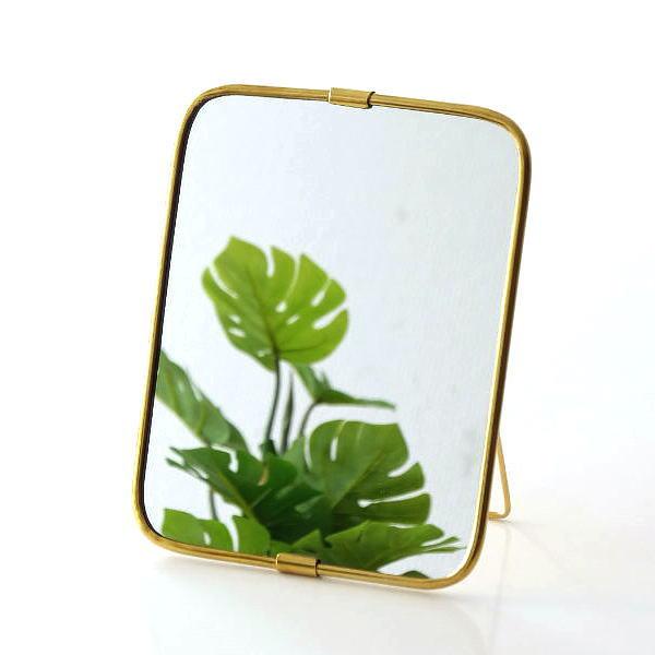 鏡 ミラー 卓上 壁掛け 真鍮 ゴールド シンプル アンティーク メイクミラー ウォールミラー ブラスパイプフレームミラー [ksh0797]