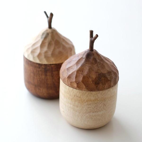 小物入れ ふた付き おしゃれ かわいい 卓上 ミニ 小さい 木製 ナチュラル 置物 オブジェ ウッドキャニスターL 2カラー [ksh1447]