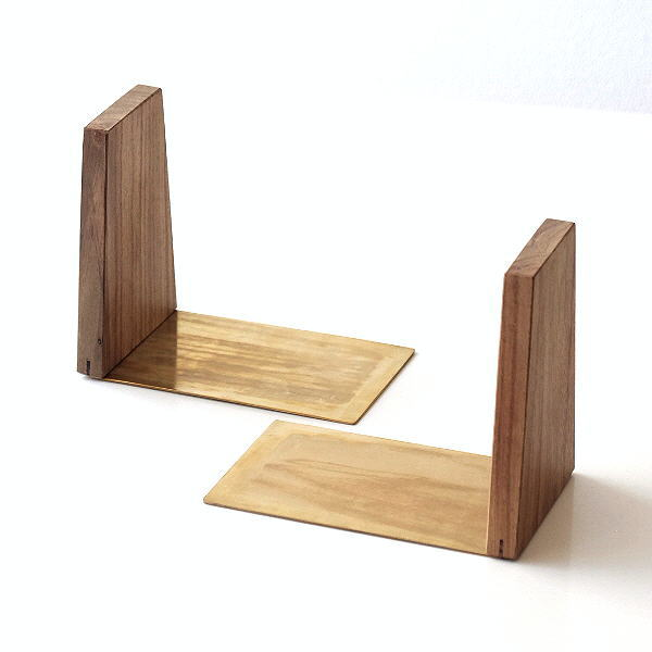 真鍮とウッドのブックエンド [ksh3547]
