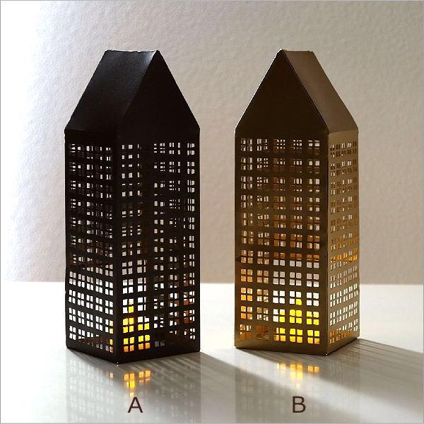 キャンドルホルダー ブリキ おしゃれ かわいい LEDキャンドル おうち ハウス 家 デザイン オブジェ 置物 ブリキのLED付きトールハウス 2カラー [ksh3667]