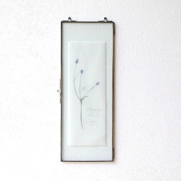 フォトフレーム 壁掛け ロング 縦長 15×40cm ガラス 壁飾り インテリア フレーム 額 クリア 透明 レトロ アンティーク アイアンハンギングフレーム LF [ksh7548]