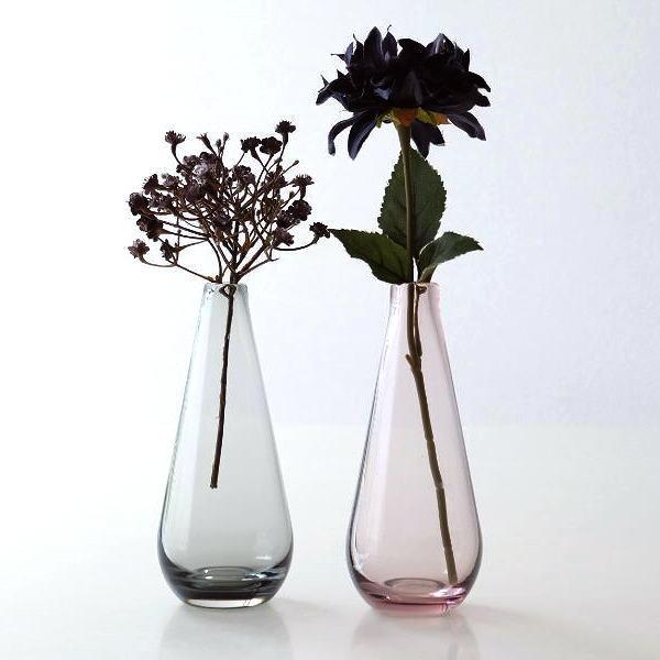 一輪挿し おしゃれ ガラス しずく 花瓶 フラワーベース かわいい シンプル ガラスの一輪挿し グロウ2カラー [ksh7951]