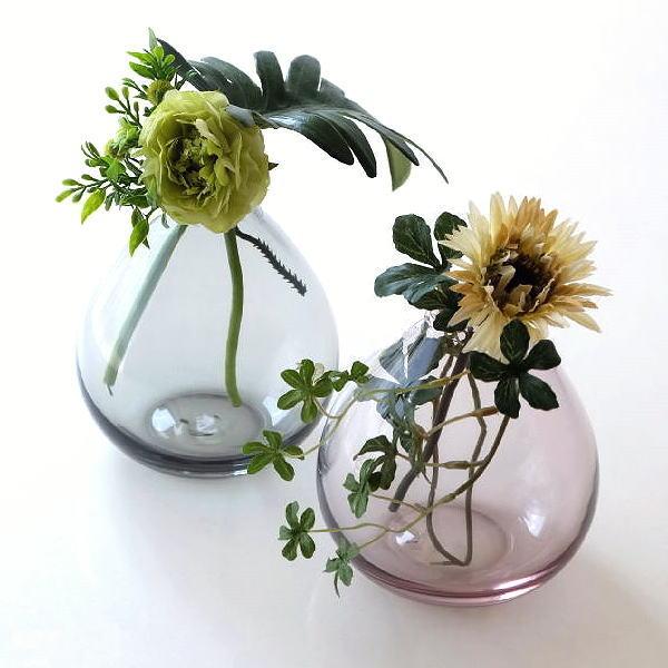 一輪挿し おしゃれ ガラス しずく 花瓶 フラワーベース かわいい シンプル ガラスの一輪挿し チャビー2カラー [ksh8515]