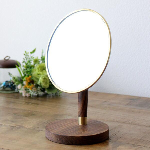 鏡 卓上ミラー メイクミラー アンティーク おしゃれ 木製 丸 円形 ラウンド 真鍮とウッドのスタンドミラー [ksh8635]
