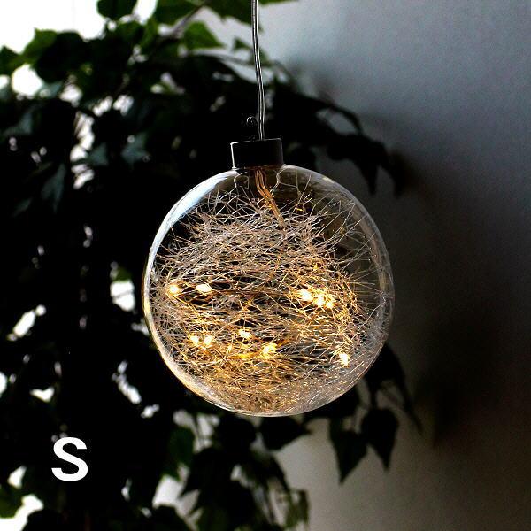 LEDライト ガラス オーナメント 飾り 装飾 オブジェ 吊り下げ ハンギングライト インテリア 部屋 リビング 可愛い LEDグラスファイバーボール S [ksh8804]