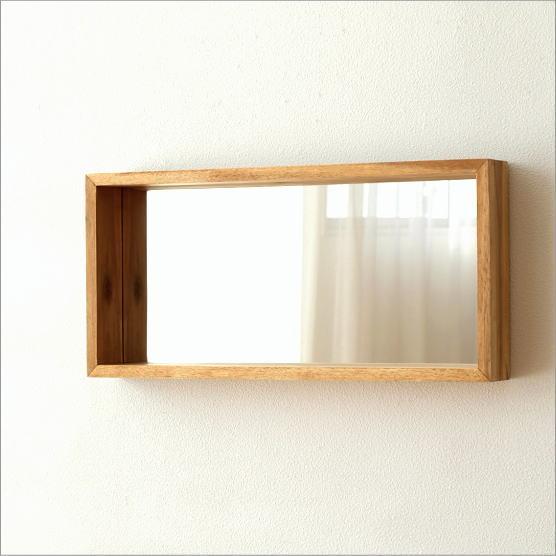 壁掛けミラー 木製 おしゃれ ウォールミラー 鏡 壁掛け 木 ウッド ナチュラル モダン 長方形 棚 玄関 ウォールハンギングミラー【送料無料】