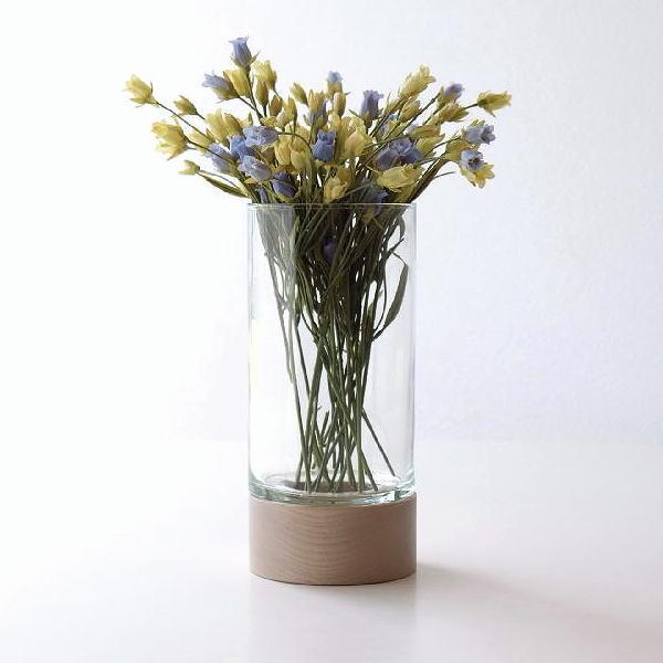 花瓶 フラワーベース ガラス 木製 おしゃれ 円柱 円筒 キャンドルホルダー ウッドベース付きフラワーベース [ksh9276]