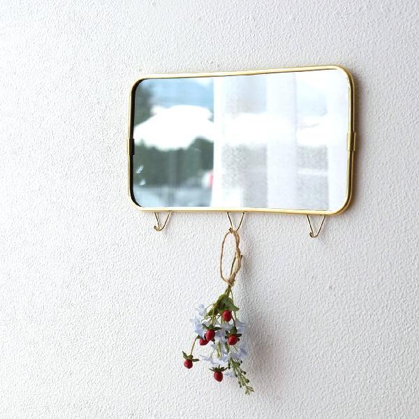 鏡 壁掛けミラー ウォールミラー おしゃれ 真鍮 かわいい ミラー フック アンティーク ゴールド シンプル 洗面所 玄関 真鍮のウォールミラー3フック [ksh9607]