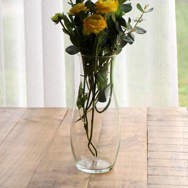 花瓶 フラワーベース ガラス シンプル おしゃれ クリア 透明 花器 リューズガラスのフラワーベース スリーク [ksh9776]