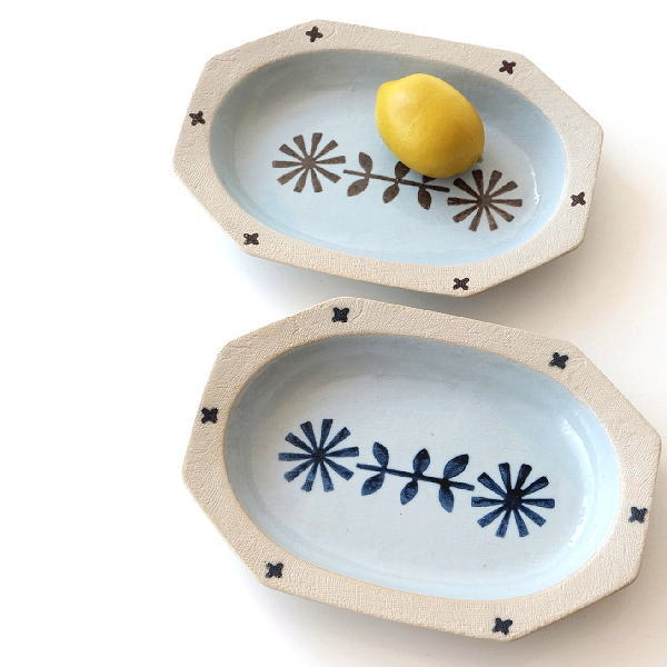 お皿 プレート 北欧 おしゃれ 可愛い 花柄 楕円形 オーバル 陶器 瀬戸焼 日本製 焼き物 オーバル深皿 2カラー [ksn0918]