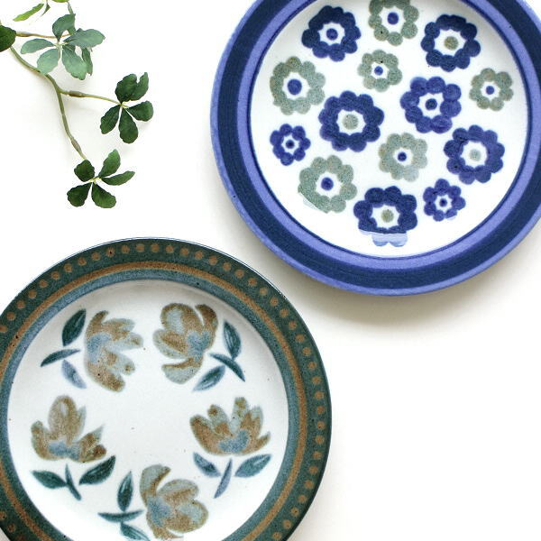 お皿 プレート おしゃれ 小さい 中皿 陶器 かわいい 日本製 瀬戸焼 アンティーク 花 和風 洋風 プレート中皿 フラワーべッド2タイプ [ksn2288]