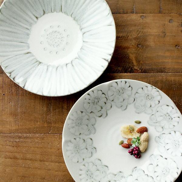 お皿 プレート おしゃれ 深皿 陶器 かわいい スタッキング シンプル モダン 和風 洋風 プレート深皿 ホワイトフラワー2タイプ [ksn4878]