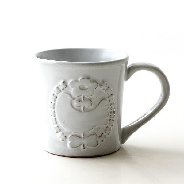 マグカップ 陶器 おしゃれ かわいい 日本製 和 美濃焼 シンプル デザイン 焼き物 コーヒーカップ コーヒーマグ 花 ホワイトバードマグ [ksn7241]