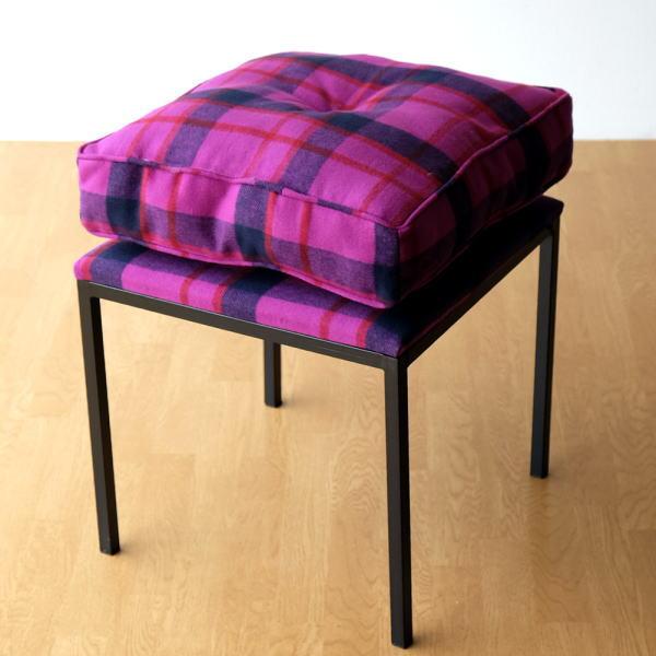 クッションチェア スツール クッション 椅子 おしゃれ 大きい 四角 スクエア 正方形 デザイン エレガント チェック柄 チェアー&クッション パープル 【送料無料】 [kwb0506]