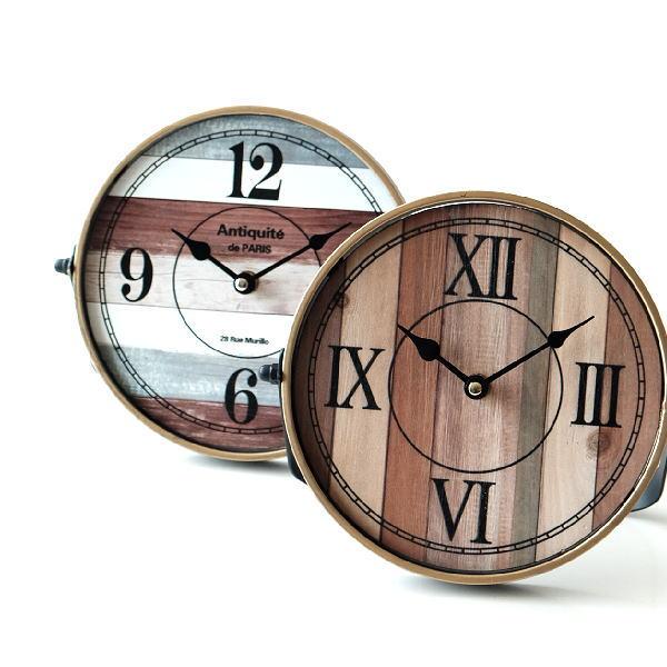 置き時計 おしゃれ アナログ 木目調 アイアン アンティーク レトロ 丸い 丸形 サークルスタンドクロック 2タイプ [kwb0705]