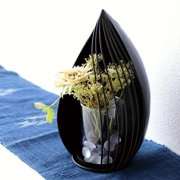 花瓶 フラワーベース おしゃれ ガラス アイアン 和風 モダン 黒 ブラック アイアンとガラスのフラワーベース 蕾 [kwb0977]
