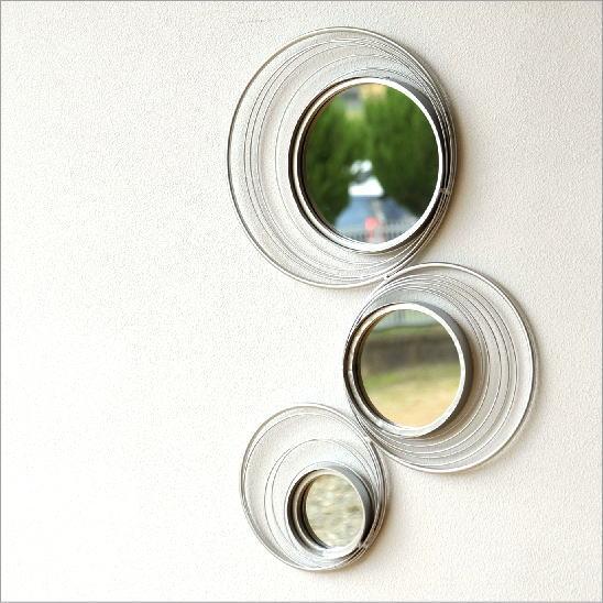 壁掛けミラー ウォールミラー 鏡 壁掛け おしゃれ デザイン 壁飾り ウォールデコ 壁面 飾り スタイリッシュ モダン インテリア シルバー壁掛サークルミラー