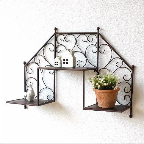 壁掛け 棚 ウォールシェルフ ウォールラック アイアン おしゃれ 階段 飾り棚 壁掛け棚 収納 かわいい アイアン壁掛ミニシェルフ