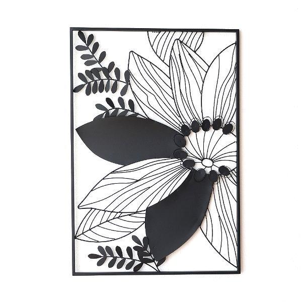 アイアンの壁飾り シルエットフラワーB 【送料無料】 [kwb3297]