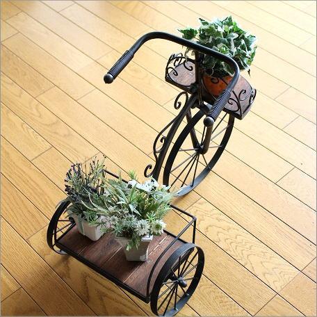 フラワースタンド 花台 鉢台 鉢スタンド 木製 アイアン おしゃれ サイクルプランター シャビーウッド [kwb3781]